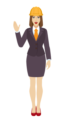 Businesswoman in construction helmet greeting someone with his hand raised up. Full length portrait of businesswoman in a flat style. Vector illustration. Illustration