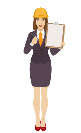 Businesswoman in construction helmet giving pen for your signature on clipboard. Full length portrait of businesswoman in a flat style. Vector illustration.