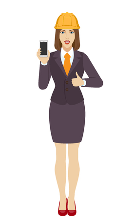 Businesswoman in construction helmet holding a mobile phone and shows thumb up. Full length portrait of businesswoman in a flat style. Vector illustration.