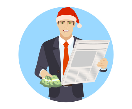 Businessman in Santa hat with cash money and newspaper. Portrait of businessman in a flat style. Vector illustration.