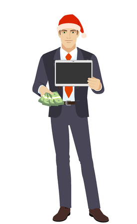 Businessman in Santa hat with money holding a digital tablet PC. Full length portrait of businessman in a flat style. Vector illustration.