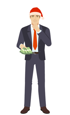 Businessman in Santa hat with money making hush sign. Full length portrait of businessman in a flat style. Vector illustration. Stock Illustratie