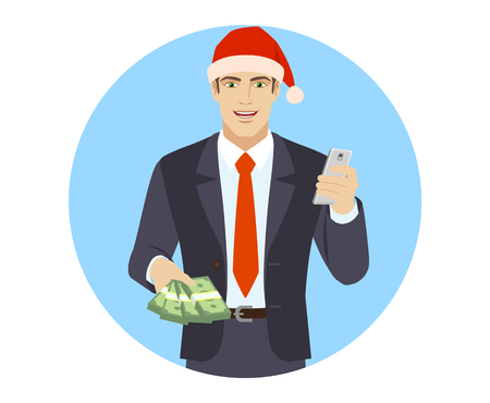 Businessman in Santa hat with money using mobile phone. Portrait of businessman in a flat style vector illustration.