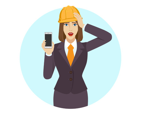 Businesswoman in construction helmet holding a mobile phone and grabbed his head. Portrait of businesswoman in a flat style. Vector illustration.
