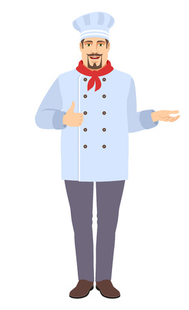 Chef showing thumb up and gesticulating. Full length portrait of Chef in a flat style. Vector illustration.