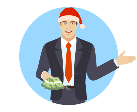 Welcome! Businessman with money showing something beside of him.  Portrait of businessman in a flat style. Vector illustration. Illustration