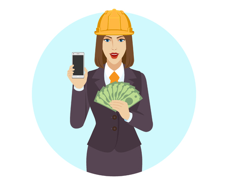 Businesswoman in construction helmet holding a mobile phone and money. Portrait of businesswoman in a flat style. Vector illustration.