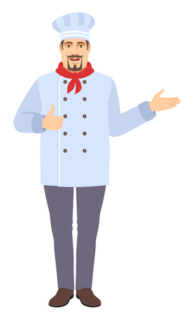 Chef  showing thumb up and showing something. Full length portrait of Chef in a flat style. Vector illustration.
