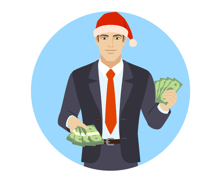 Businessman in Santa hat with money.