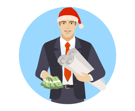 Businessman in Santa hat with cash money holding the project plans.Portrait of businessman in a flat style. Vector illustration.