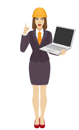 Businesswoman in construction helmet holding a laptop notebook and pointing up. Full length portrait of businesswoman in a flat style. Vector illustration.