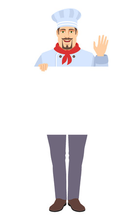 Chef holding white blank poster and greeting someone with his hand raised up. Full length portrait of Chef in a flat style. Vector illustration. Illustration