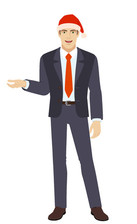 Businessman in Santa hat gesturing. Full length portrait of businessman in a flat style. Vector illustration.