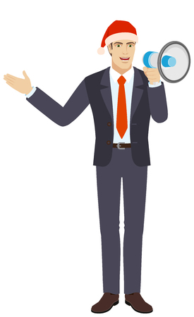 Businessman in Santa hat with loudspeaker showing something beside of him. Full length portrait of businessman in a flat style. Vector illustration.
