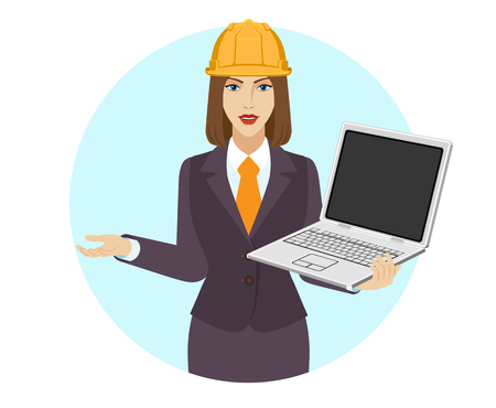 Businesswoman with construction helmet holding a laptop notebook vector