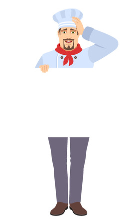 Chef holding white blank poster and grabbed his head. Full length portrait of Chef in a flat style. Vector illustration.