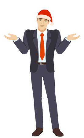 I don't know. Businessman in Santa hat with an I don't know gesture. Full length portrait of businessman in a flat style. Vector illustration.