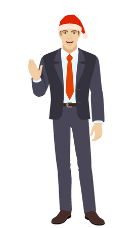 Businessman in Santa hat greeting someone with his hand raised up. Full length portrait of businessman in a flat style. Vector illustration.