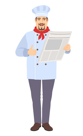 Chef with newspaper showing thumb up. Full length portrait of Chef in a flat style. Vector illustration.