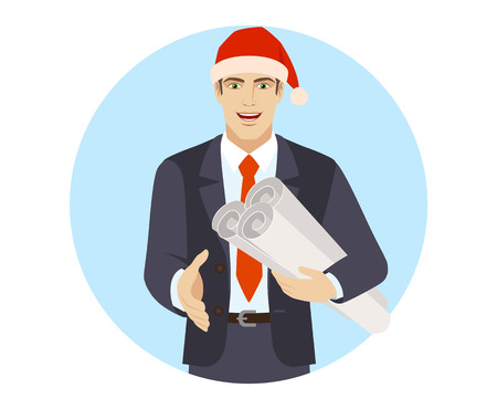 Businessman in Santa hat holding the project plans and gives a hand for a handshake.