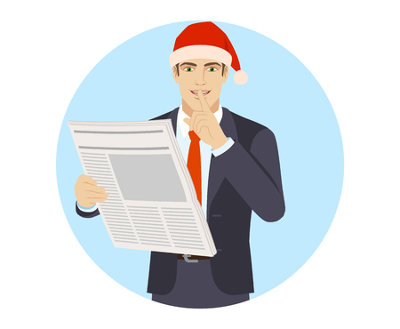 Hush hush. Businessman in Santa hat with newspaper making hush sign.Portrait of businessman in a flat style. Vector illustration.