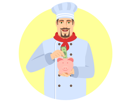Chef puts banknote in a piggy bank. Portrait of Chef in a flat style. Vector illustration.