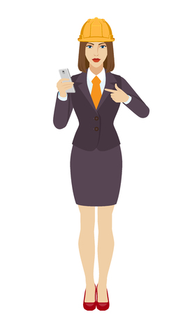 Businesswoman in construction helmet pointing at a mobile phone. Full length portrait of businesswoman in a flat style. Vector illustration. Illustration