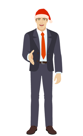 Businessman in Santa hat gives a hand for a handshake. Full length portrait of businessman in a flat style. Vector illustration.