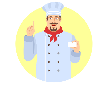 Chef pointing up and showing the business card. Portrait of Chef in a flat style.