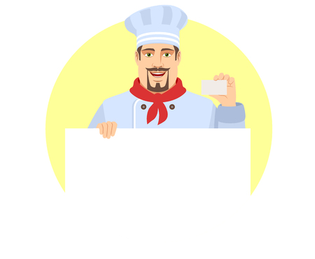 Chef  holding white blank poster and showing the business card. Portrait of Chef in a flat style. Vector illustration.