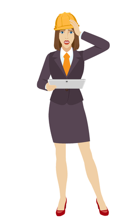 Businesswoman in construction helmet holding a digital tablet PC and grabbed his head. Portrait of businesswoman in a flat style. Vector illustration. Illustration