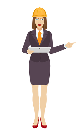 Businesswoman in construction helmet holding a digital tablet PC and pointing something beside of her. Portrait of businesswoman in a flat style. Vector illustration. Illustration