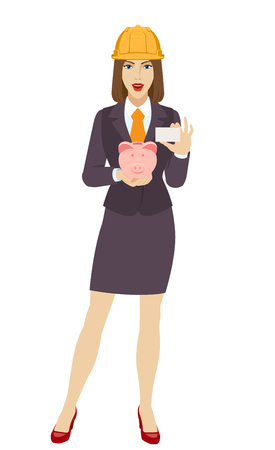 Businesswoman in construction helmet holding a piggy bank and showing the business card. Portrait of businesswoman in a flat style. Vector illustration. Illustration
