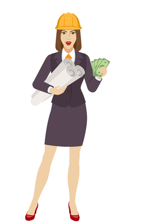 Businesswoman in construction helmet with cash money holding the project plans. Portrait of businesswoman in a flat style. Vector illustration.