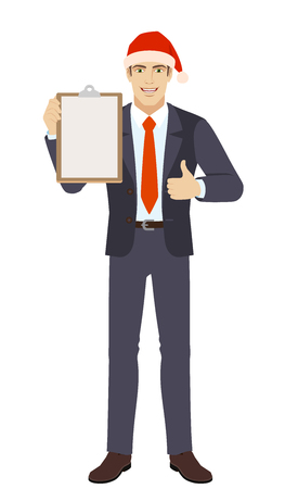Businessman in Santa hat holding the clipboard and showing thumb up. Full length portrait of businessman in a flat style. Vector illustration.