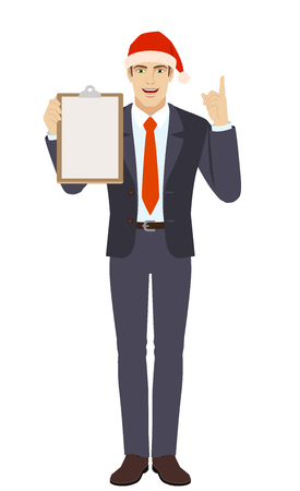 Businessman in Santa hat holding the clipboard and pointing up. Full length portrait of businessman in a flat style. Vector illustration. Çizim