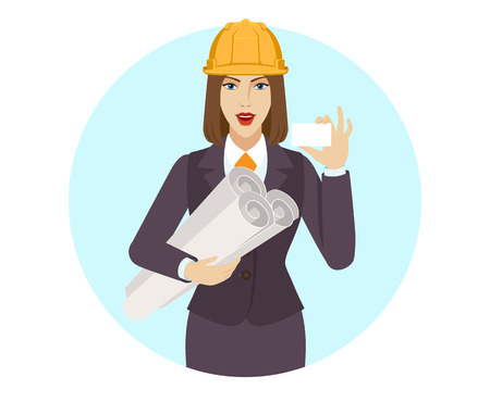 Businesswoman in construction helmet holding the project plans and showing the business card. Portrait of businesswoman in a flat style. Vector illustration.
