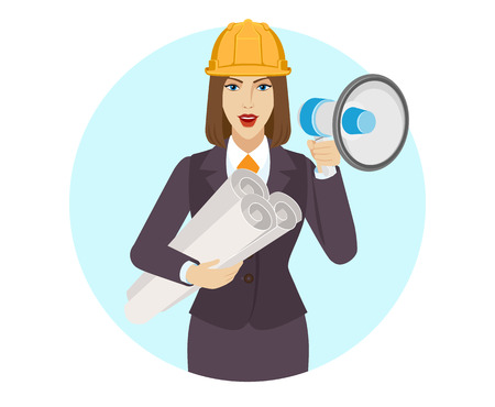 Businesswoman in construction helmet holding the project plans and loudspeaker. Portrait of businesswoman in a flat style. Vector illustration.