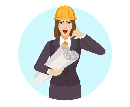 Businesswoman in construction helmet holding the project plans and showing a call me sign. Portrait of businesswoman in a flat style. Vector illustration.