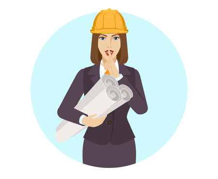 Businesswoman in construction helmet holding the project plans and making hush sign. Portrait of businesswoman in a flat style. Vector illustration.