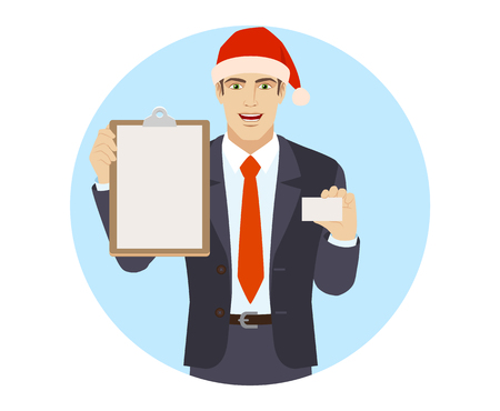 Businessman in Santa hat  holding the clipboard and showing the business card. Portrait of businessman in a flat style. Vector illustration.