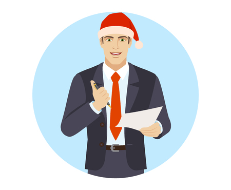 Businessman in Santa hat  holding a pen and paper. Portrait of businessman in a flat style. Vector illustration.