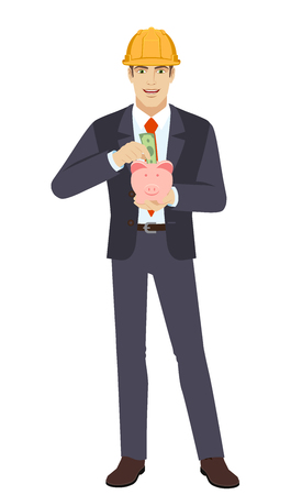 Businesswoman in construction helmet puts banknote in a piggy bank. Full length portrait of businessman character in a flat style. Vector illustration. Ilustracja