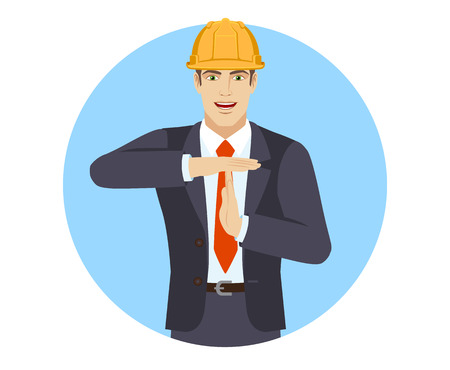 Businessman in construction helmet showing time-out sign with hands. Body language. Portrait of businessman character in a flat style. Vector illustration.