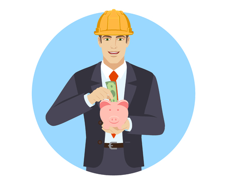 Businesswoman in construction helmet puts banknote in a piggy bank. Portrait of businessman character in a flat style. Vector illustration. Ilustracja