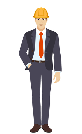 Businessman in construction helmet standing with hand in pocket. Full length portrait of businessman in a flat style. Vector illustration. Ilustração