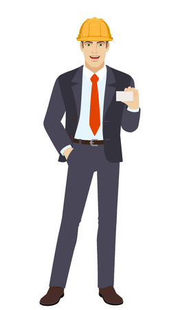 Businessman in construction helmet with hand in pocket showing the business card. Full length portrait of businessman in a flat style. Vector illustration. Illustration