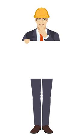 Businessman in construction helmet Full length portrait of businessman in a flat style. Vector illustration.