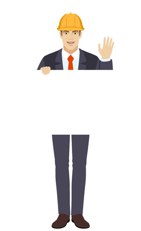 Businessman in construction helmet holding white blank poster and greeting someone with his hand raised up. Full length portrait of businessman character in a flat style. Vector illustration.
