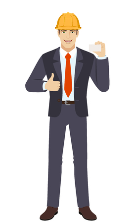 Businessman in construction helmet showing thumb up and showing the business card. Full length portrait of businessman character in a flat style. Vector illustration.